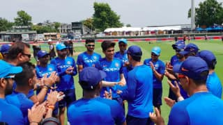 young Shubman Gill gets maiden India cap from MS Dhoni as India's 227th ODI debutant