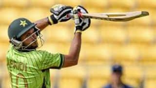 Shahid Afridi dismissed for 7 by Sean Williams in 2nd T20I at Lahore