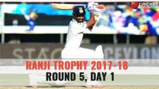 Live Cricket Score, Ranji Trophy 2017-18, Round 5, Day 1