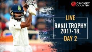 LIVE CRICKET SCORE, Ranji Trophy 2017-18, Day 2
