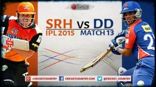 Live Cricket Score Sunrisers Hyderabad vs Delhi Daredevils IPL 2015 Match 13 at Visakhapatnam, SRH 163/8 in 20 overs: DD win by 4 runs
