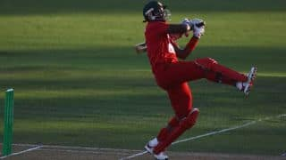 Hamilton Masakadza dismissed by Adam Milne against New Zealand in one-off T20I at Harare
