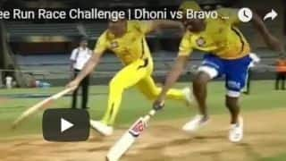 Watch MS Dhoni, Dwayne Bravo's 3-run race