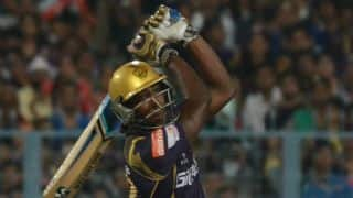 Andre Russell dismissed for 37 by Chris Morris against Rajasthan Royals in IPL 2015
