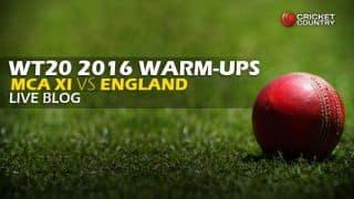 MCA XI 128/2 in Overs 15   Live Cricket Score England vs MCA XI, ICC World T20 2016 ENG vs MCA XI, warm-up match at Brabourne Stadium, Mumbai: Jay Bista falls