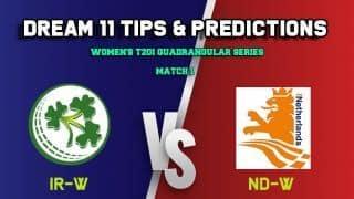 Dream11 Team Ireland women vs Netherlands women Match WOMEN'S T20I QUADRANGULAR SERIES 2019 – Cricket Prediction Tips For Today's T20 Match IR-W vs ND-W at Deventer