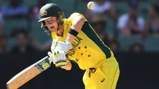 Steven Smith completes fourth ODI fifty during Australia-Afghanistan ICC Cricket World Cup 2015 match at Perth