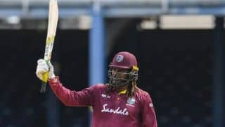 Brian Lara congratulates Chris Gayle as he becomes leading run-getter in ODIs for West Indies