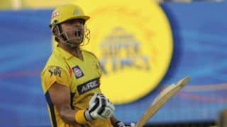 Suresh Raina reaches half-century for Chennai Super Kings against Royal Challengers Bangalore for IPL 2014