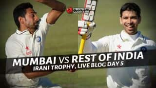 ROI win by 4 wickets: Live Cricket Score Mumbai vs Rest of India, Irani Cup 2015-16, Day 5 at Brabourne Stadium