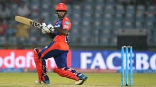Sansju Samson dismissed for 15 during Delhi Daredevils vs Kolkata Knight Riders , IPL 2016 at Delhi