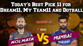 Today's Best Pick 11 for Dream11, My Team11 and Dotball – Here are the best pick for Today's match between KKR and MI at 8pm