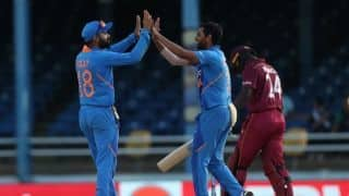 o india vs west indies, 2nd odi, Virat kohli, Bhuvneshwar kumar guide india 59 runs win with DLS method
