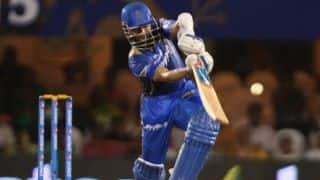 Rahane dismissed for 8 by Bhuvneshwar against SRH in IPL 2015