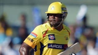 Dwayne Smith dismissed for 6 by Ankit Sharma against Rajasthan Royals in IPL 2015