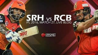RCB 179/6, 20 overs | Live Cricket Score Sunrisers Hyderabad (SRH) vs Royal Challengers Bangalore (RCB), IPL 2016, Match 27 at Hyderabad: SRH win by 15 runs