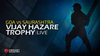 SAU 202/0 | Overs 26.3 | Live Cricket Score, Vijay Hazare Trophy 2015-16, Saurashtra vs Goa, Group D match at Rajkot: Saurahtra wins by 10 wickets; gains 4 points