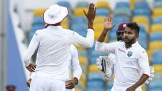 Bishoo's 5-for helps WI bundle ZIM for 159 before tea, Day 2, 1st Test