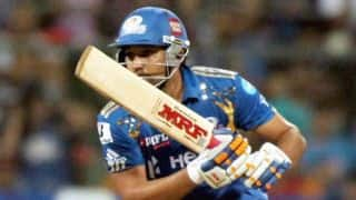 Rohit Sharma holds fort for Mumbai Indians against Kolkata Knight Riders in IPL 2014