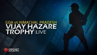 HIM 187/3 in 29.2 Overs | Live Cricket Score, Vijay Hazare Trophy 2015-16, Goa vs Himachal Pradesh, Group D match at Rajkot; Himachal Pradesh win