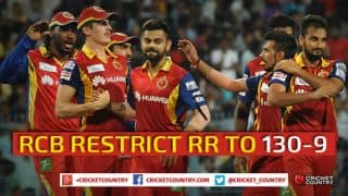 Royal Challengers Bangalore restrict Rajasthan Royals to 130/9 in IPL 2015 Match 22 at Ahmedabad