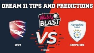 Dream11 Team Kent vs Hampshire South Group VITALITY T20 BLAST – Cricket Prediction Tips For Today's T20 Match KET vs HAM at The Rose Bowl