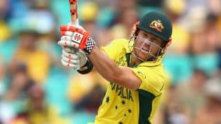 Australia look to settle following dismissal of Aaron Finch against Pakistan in quarter-final of ICC Cricket World Cup 2015