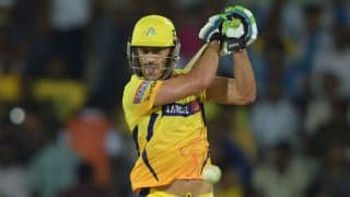 Faf du Plessis run out by Shane Watson for 29 against Rajasthan Royals in IPL 2015