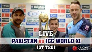 Live cricket score, Pakistan vs World XI 2017, 1st T20I at Lahore: PAK win by 20 runs