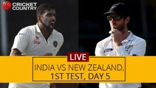 NZ 170/5 | India vs New Zealand Live score, 1st Test, Day 5: Ronchi departs for 80
