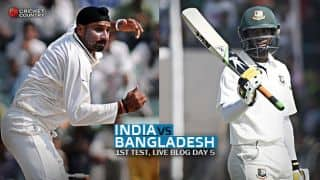 Live Cricket Score, India vs Bangladesh 2015, one-off Test at Fatullah, Day 5 BAN 23/0 in Ovs 15 (2nd inns): Teams settle for draw