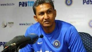 Sanjay Bangar speaks to reporters after India's Day 2 warm-up match against Cricket Australia XI
