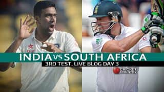 SA 185 all out (Target 310), Live Cricket Score India vs South Africa 2015, 3rd Test at Nagpur, Day 3: India win by 124 runs