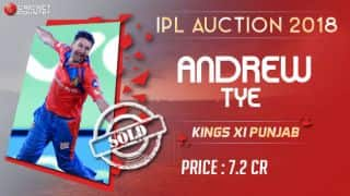 IPL Auction 2018: T20 hat-trick specialist Andrew Tye sold to Kings XI Punjab (KXIP) for INR 7.2 crore