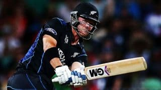 Corey Anderson dismissed for 15 by Andre Russell against West Indies in ICC Cricket World Cup 2015 quarter-final