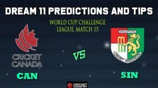 CAN vs SIN Dream11 Team Canada vs Singapore, Match 15, World Cup Challenge League – Cricket Prediction Tips For Today's Match CAN vs SIN at Kuala Lumpur