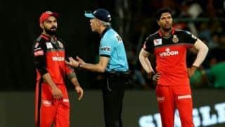 Umpire Nigel Llong lands himself in controversy after kicking KSCA property during RCB-SRH match