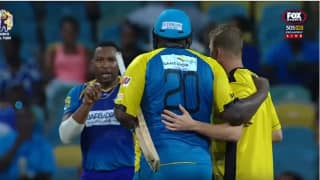 Kieron Pollard fights with world's giant cricketer Rahkeem Cornwall after he smashes 80 Runs for 43 Balls in Caribbean Premiere League 2017