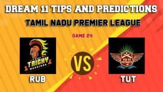 Dream11 Team Ruby Trichy Warriors vs TUTI Patriots Match 24 TNPL 2019 TAMIL NADU T20 – Cricket Prediction Tips For Today's T20 Match RUB vs TUT at Dindigul