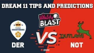Dream11 Team Derbyshire vs Nottinghamshire North Group VITALITY T20 BLAST ENGLISH T20 BLAST – Cricket Prediction Tips For Today's T20 Match DER vs NOT at Derby