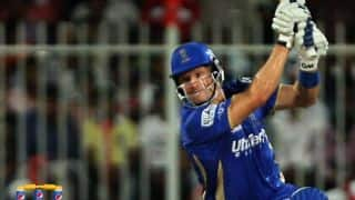 Shane Watson scores 4,000 T20 runs during Rajasthan Royals vs Kolkata Knight Riders IPL 2015, Match 54 at Mumbai