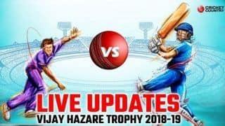 Vijay Hazare Trophy 2018-19 LIVE: Live Cricket Score, Round 9, Elite A, B and Plate
