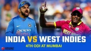 India vs West Indies 2018, 4th ODI, LIVE cricket score, Mumbai: India hammer West Indies by 224 runs to go 2-1 up