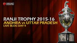AND 126   Live cricket score, Andhra vs Uttar Pradesh, Ranji Trophy 2015-16, Group B match, Day 4 at Ongole: UP win by 56 runs