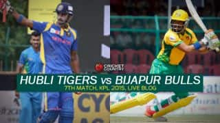 Bulls 153/3 after 17 overs (Target 153) | Live cricket score Karnataka Premier League 2015 Hubli Tigers vs Bijapur Bulls at Hubli: Robin Uthappa leads Bulls to seven-wicket win