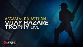 RAJ 149/5 in Overs 24, Live Cricket Score, Vijay Hazare Trophy 2015-16, Assam vs Rajasthan, Group A match at Hyderabad: Rajasthan win by 1 wicket