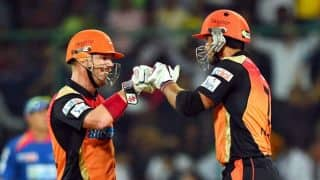 Shikhar Dhawan out for 50 in Sunrisers Hyderabad's chase of 161 against Royal Challengers Bangalore in IPL 7 match