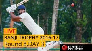 Live Cricket Score Ranji Trophy 2016-17, Day 3, Round 8