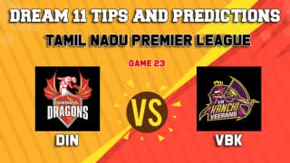 Dream11 Team Dindigul Dragons vs VB Kanchi Veerans Match 23 TNPL 2019 TAMIL NADU T20 – Cricket Prediction Tips For Today's T20 Match DIN vs VBK at Chennai