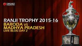 BAR 188/4 I Live cricket score, Baroda vs Madhya Pradesh , Ranji Trophy 2015-16, Group B match, Day 2 at Vadodara; Stumps
